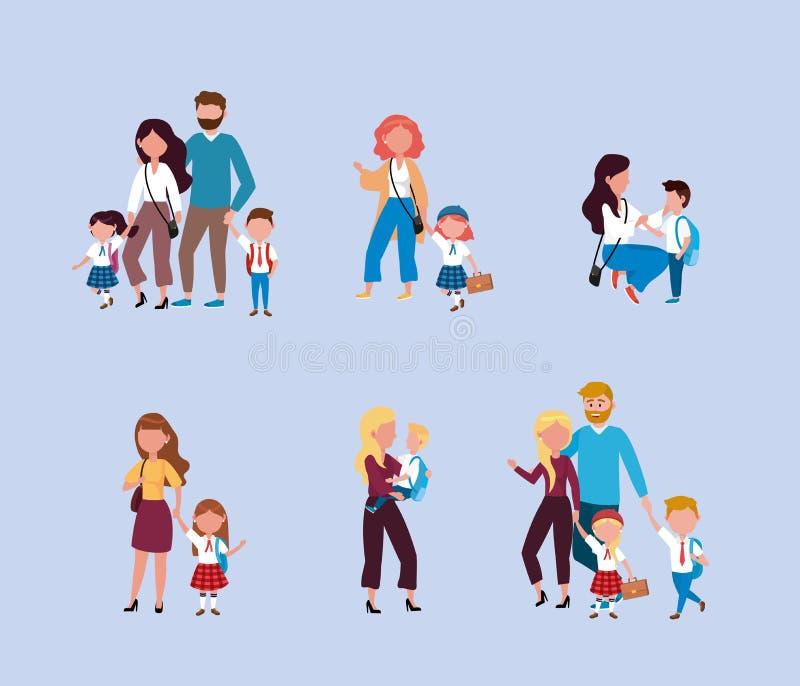 Metta delle madri e dei padri con i loro ragazzi e studentesse con lo zaino royalty illustrazione gratis