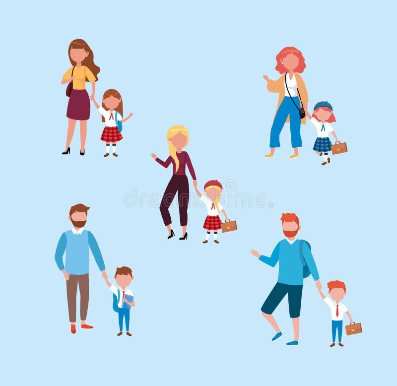 Metta delle madri e dei padri con le loro ragazze e studenti dei ragazzi royalty illustrazione gratis