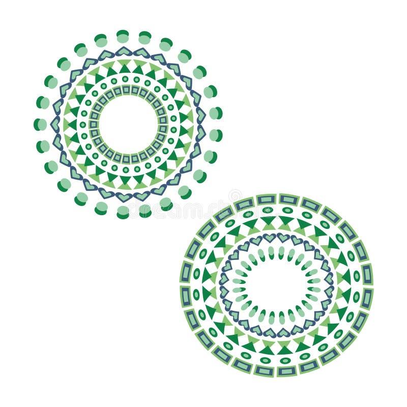 Metta delle mandale verde blu illustrazione di stock