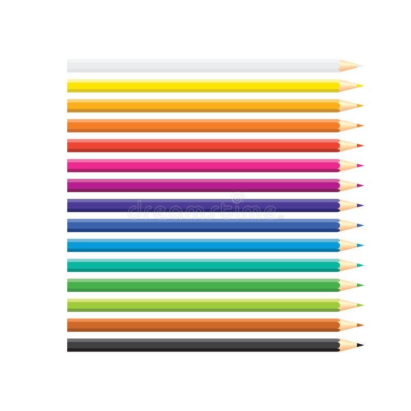 Metta delle matite colorate isolate sistemate nella fila su fondo bianco Colori del Rainbow Giallo, arancio, blu, verde, rosa, po illustrazione di stock