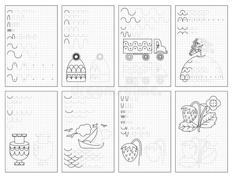 Metta delle pagine educative in bianco e nero su carta quadrata per i bambini Foglio di lavoro stampabile per il manuale dei bamb illustrazione vettoriale