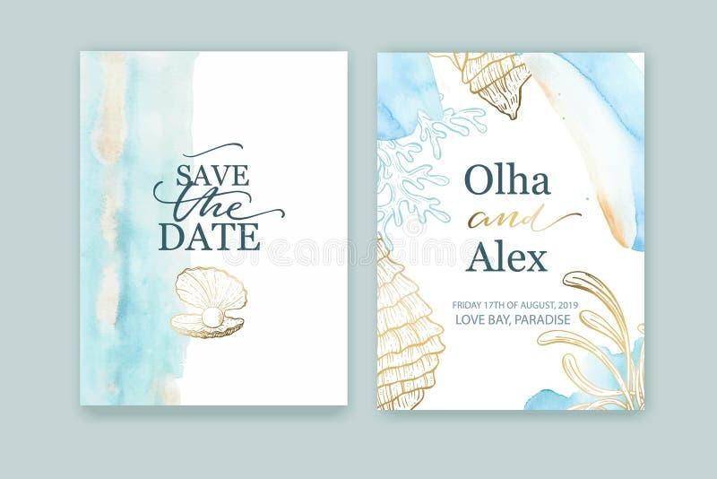 Metta delle partecipazioni di nozze, invito Lavata blu dell'acquerello Fondo di estate Conchiglie disegnate a mano con struttura  illustrazione vettoriale