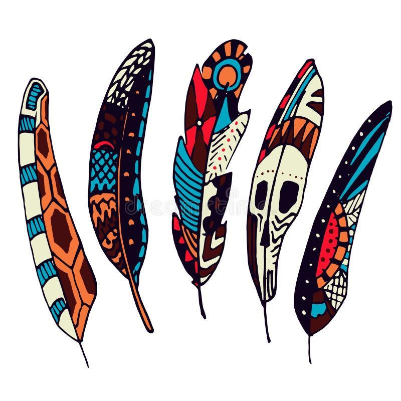 Metta delle piume etniche disegnate a mano variopinte Spolette decorate di scarabocchio royalty illustrazione gratis