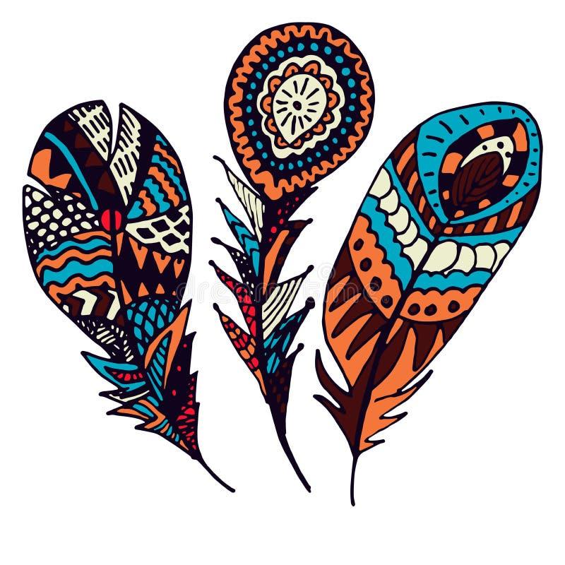 Metta delle piume etniche disegnate a mano variopinte Spolette decorate di scarabocchio illustrazione vettoriale