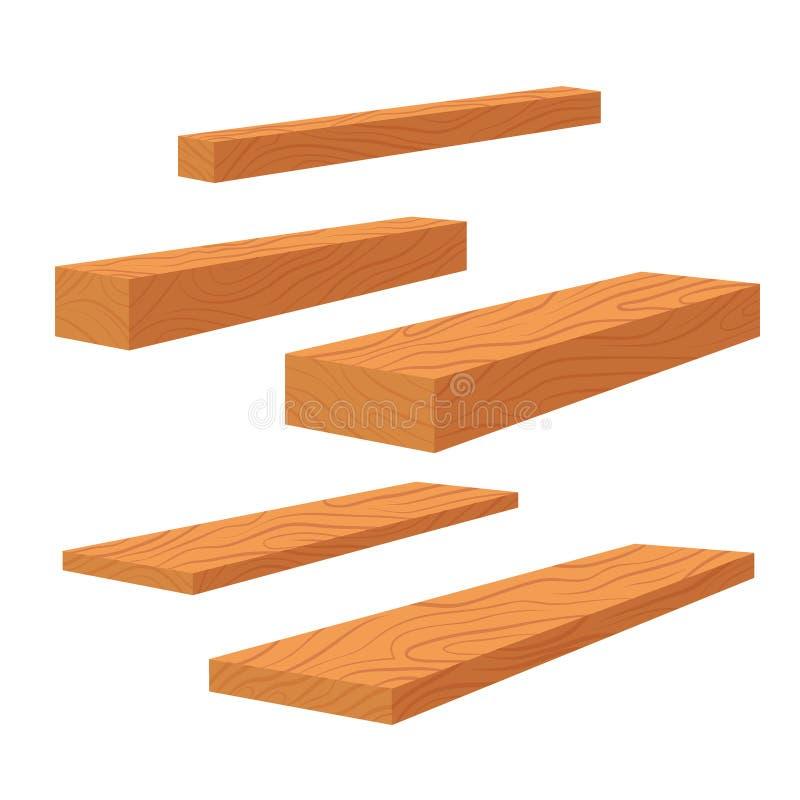 Metta delle plance di legno, della pila di barre e del fascio del legname, mucchio del legname di legno dei ceppi Plance per il v royalty illustrazione gratis