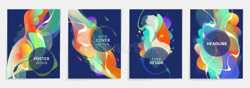 Metta delle progettazioni per l'aletta di filatoio, il broshure, la copertina di libro, il manifesto, il web, rapporto annuale illustrazione vettoriale