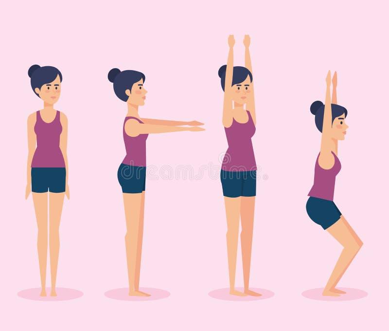 Metta delle ragazze che fanno la progettazione di yoga royalty illustrazione gratis