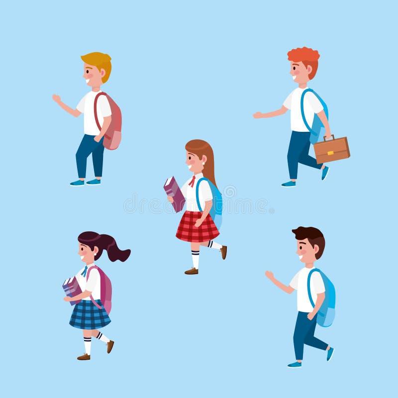 Metta delle ragazze e degli studenti dei ragazzi con lo zaino ed i libri illustrazione di stock