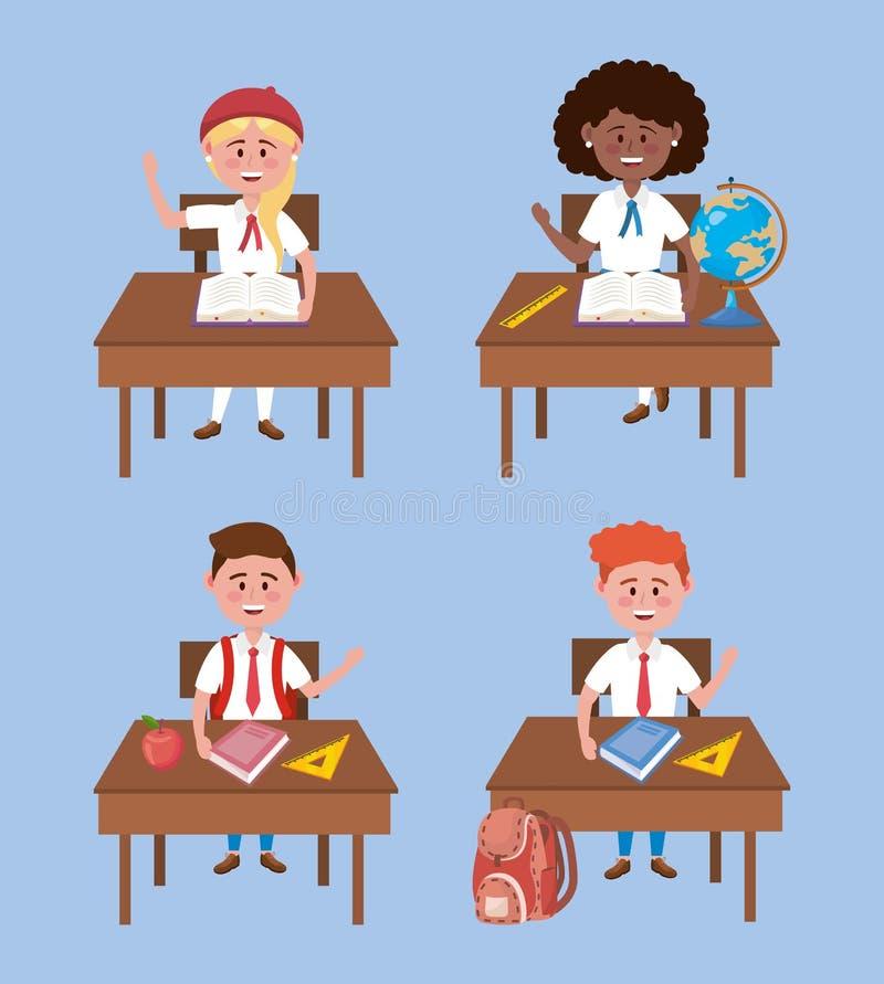 Metta delle ragazze e degli studenti dei ragazzi nello scrittorio con l'uniforme illustrazione vettoriale