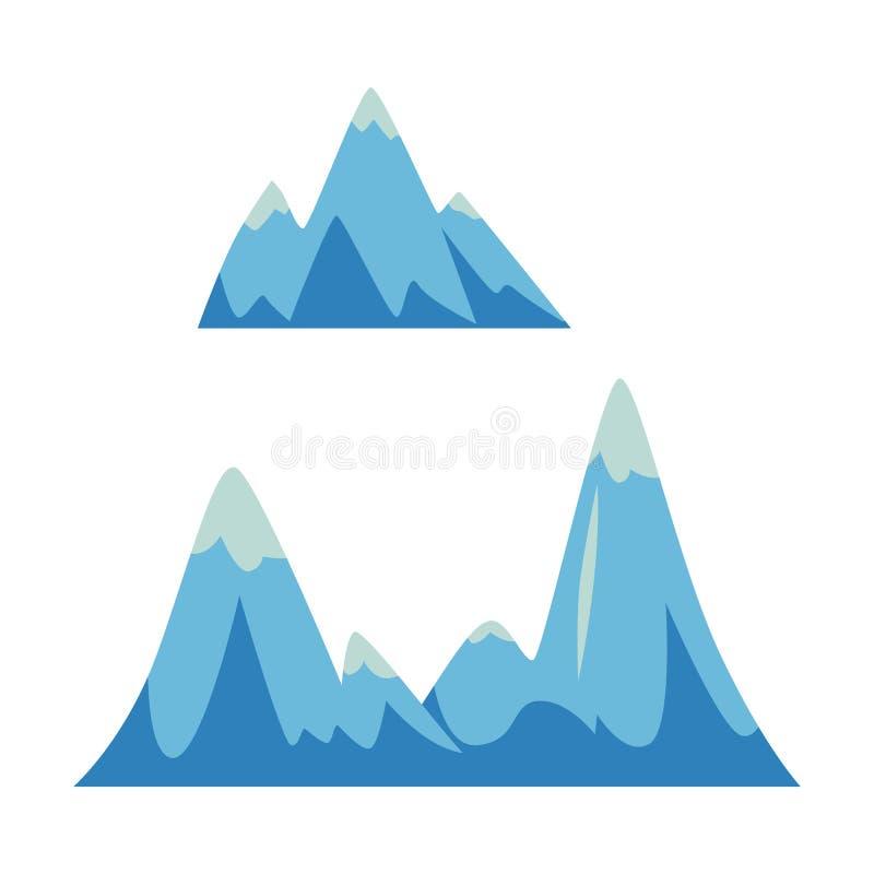 Metta delle rocce e delle icone delle montagne, degli elementi con i picchi e delle colline royalty illustrazione gratis