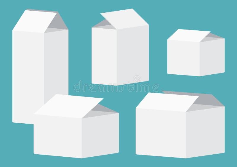 Metta delle scatole di imballaggio aperte bianche Illustrazione di vettore royalty illustrazione gratis