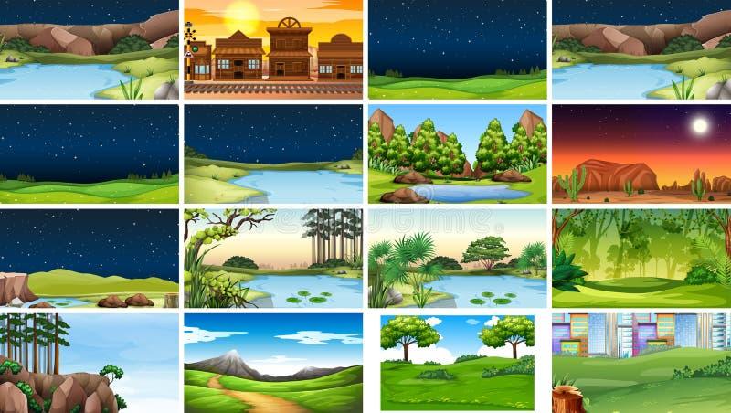 Metta delle scene della natura nel giorno e nella notte illustrazione di stock