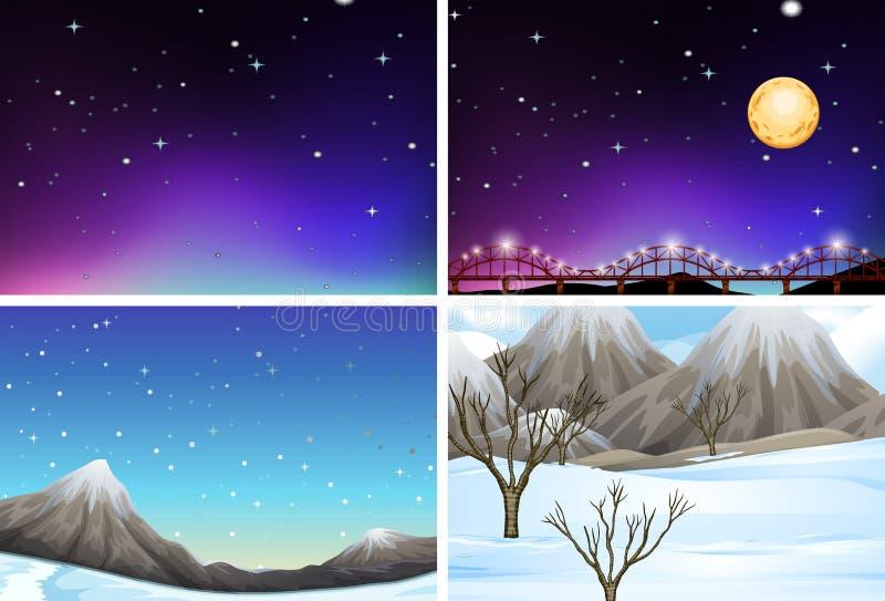 Metta delle scene differenti del paesaggio illustrazione di stock