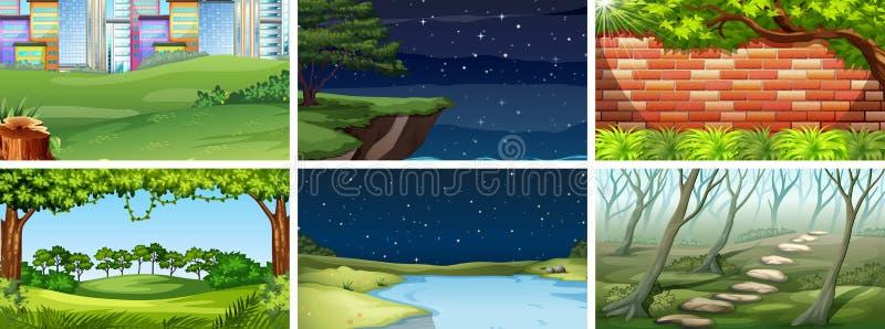 Metta delle scene il giorno e notte della natura illustrazione vettoriale