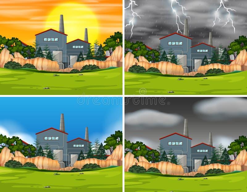 Metta delle scene industriali della fabbrica royalty illustrazione gratis