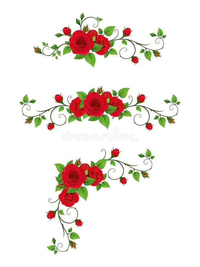 Metta delle scenette con le viti della rosa rossa Illustrazione di vettore royalty illustrazione gratis