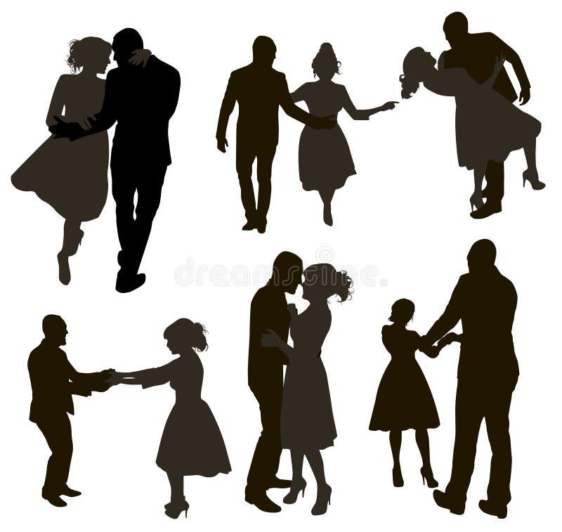 Metta delle siluette ballanti differenti della gente Coppie di ballo nelle pose differenti illustrazione vettoriale