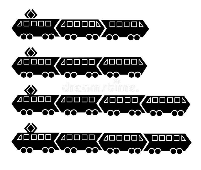 Metta delle siluette dei tram e dei treni neri della metropolitana con due o tre automobili Stile semplice piano dell'icona di ve illustrazione di stock