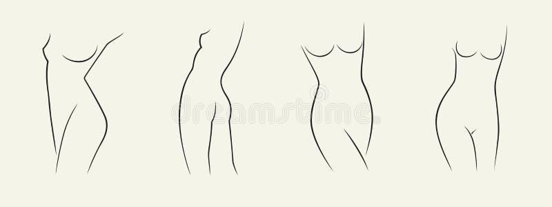 Metta delle siluette della donna elegante in igiene di stile lineare di schizzo, una salute della donna, una cura del corpo e del illustrazione vettoriale