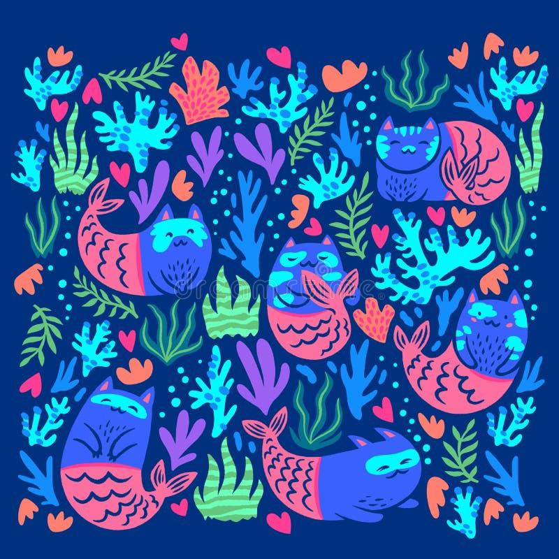 Metta delle sirene magiche del gatto Illustrazione disegnata a mano immagini stock