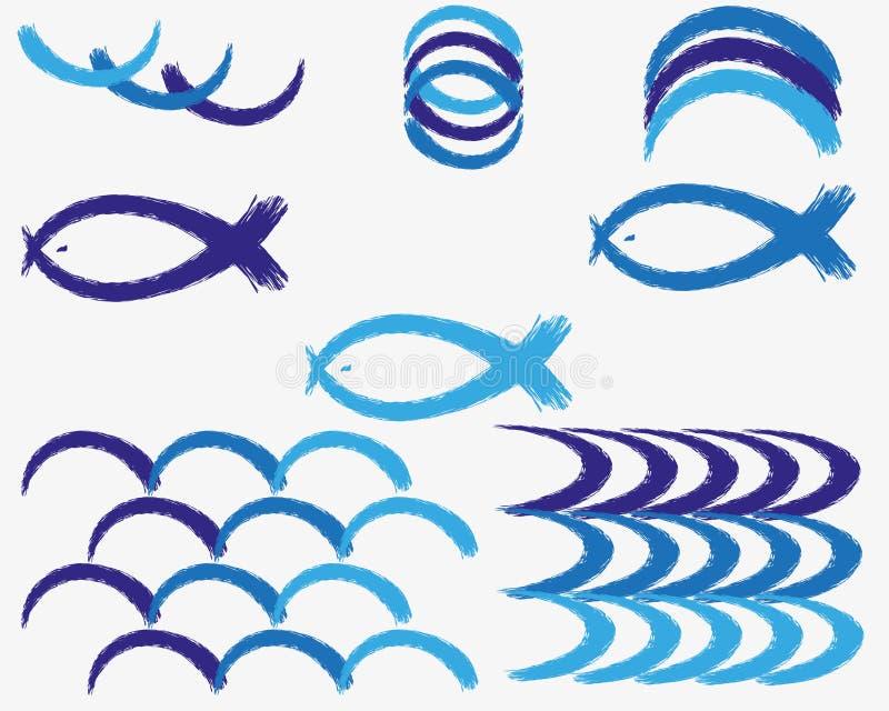Metta delle spazzole di lerciume dei colori naturali del mare e del cielo su fondo bianco Illustrazione di vettore delle onde dip illustrazione vettoriale