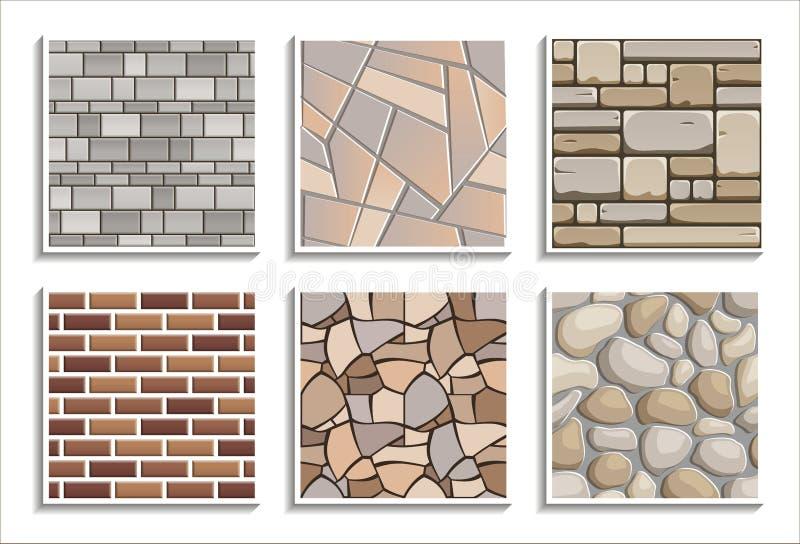 Metta delle strutture di pietra senza cuciture Il vettore ha ripetuto i modelli del materiale del mattone 3D illustrazione di stock