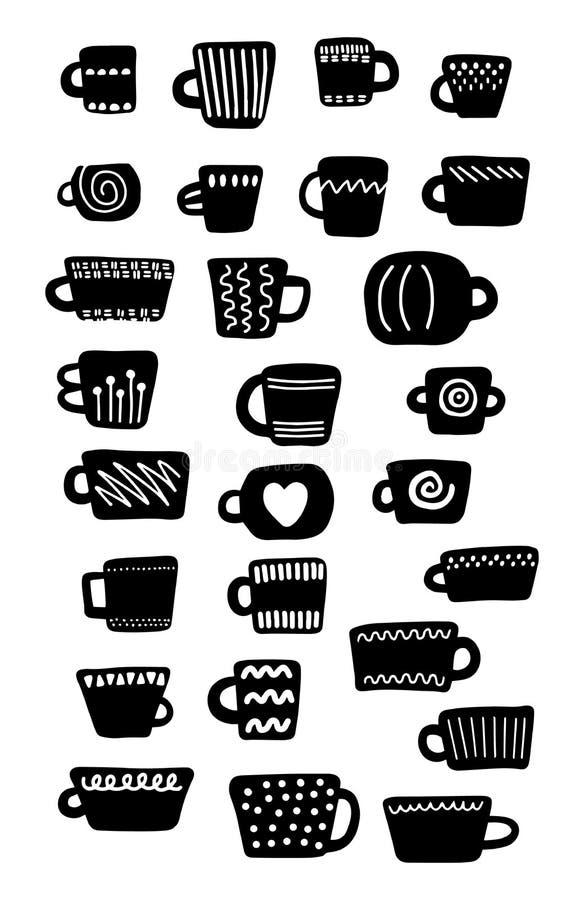 Metta delle strutture differenti di dimensioni di forme delle tazze in bianco e nero Illustrazione disegnata a mano di vettore ne illustrazione vettoriale