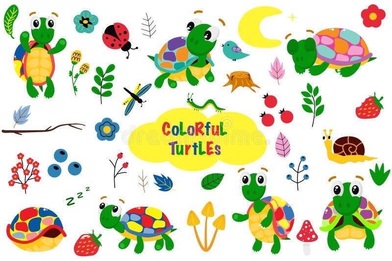 Metta delle tartarughe variopinte isolate - l'illustrazione di vettore, ENV illustrazione di stock