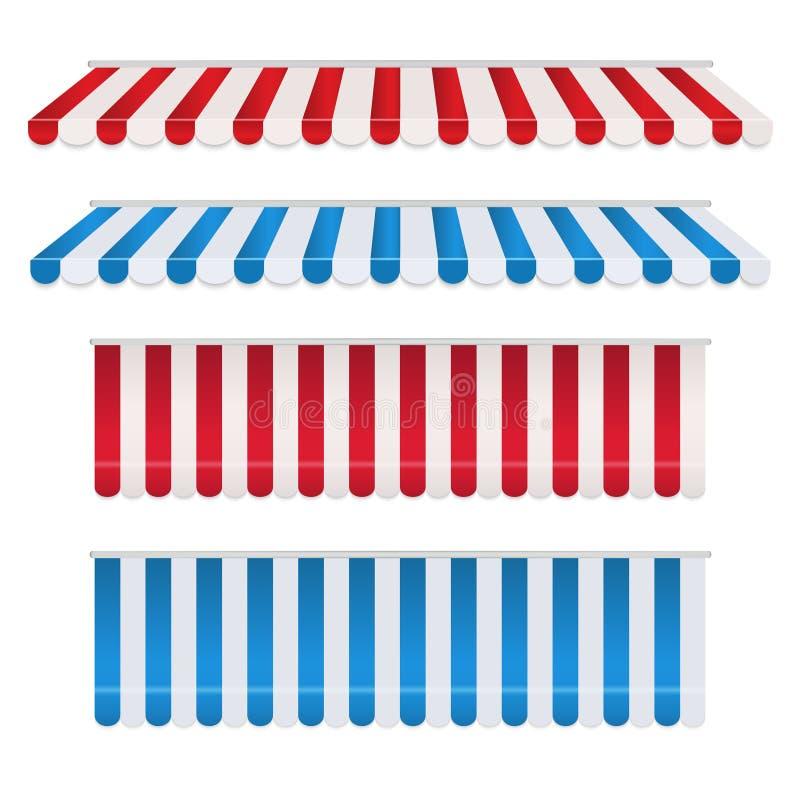 Metta delle tende variopinte della striscia rossa e bianca, blu e bianca per il negozio Parasole della tenda per il mercato isola illustrazione di stock