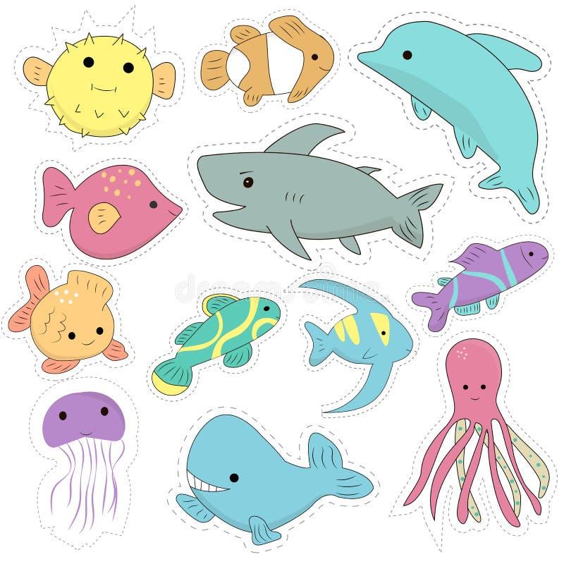 Metta delle toppe marine delle creature di kawaii illustrazione di stock