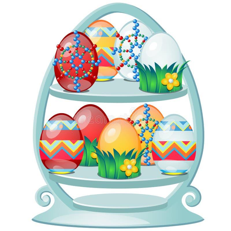 Metta delle uova di Pasqua variopinte con i modelli su uno scaffale stilizzato isolato su fondo bianco Primo piano del fumetto di illustrazione di stock