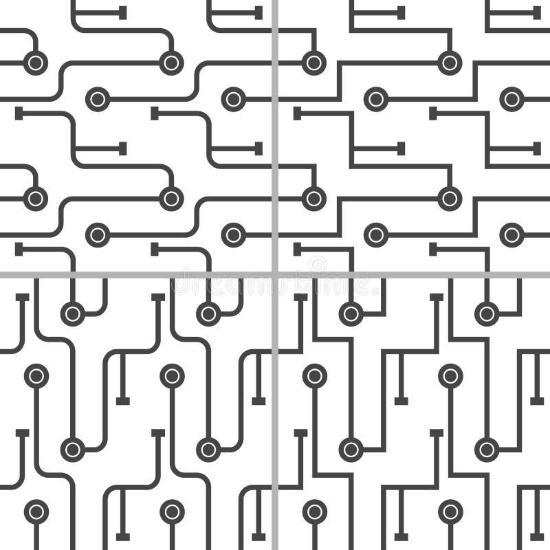 Metta dello schema astratto del microchip 4 Linee monocromatiche semplici su fondo bianco royalty illustrazione gratis