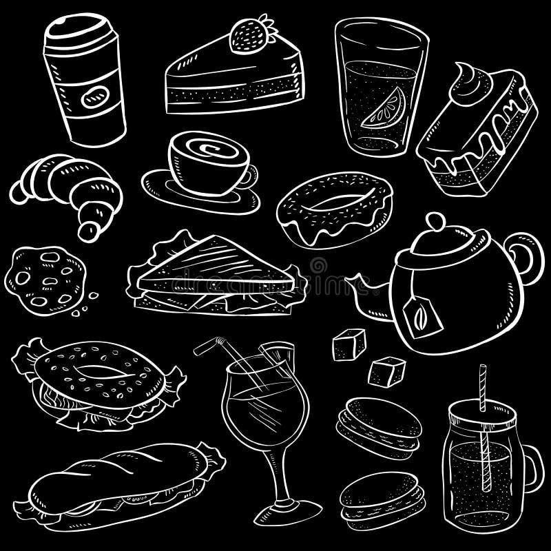 Metta di alimento e dello spuntino disegnati a mano sul fondo della lavagna illustrazione vettoriale