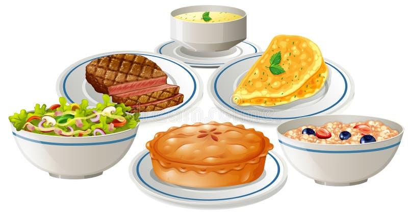 Metta di alimento sul piatto illustrazione vettoriale