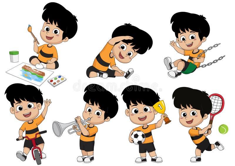 Metta di attivit? del bambino, bambino che dipinge un'immagine, facendo un esercizio, giocando un tennis, guidando una bicicletta royalty illustrazione gratis
