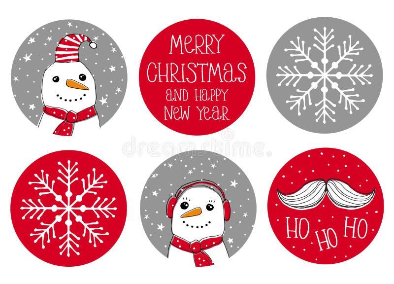 Metta di 6 autoadesivi svegli di vettore di Natale di forma rotonda Santa Claus Moustache e Snowmans illustrazione vettoriale