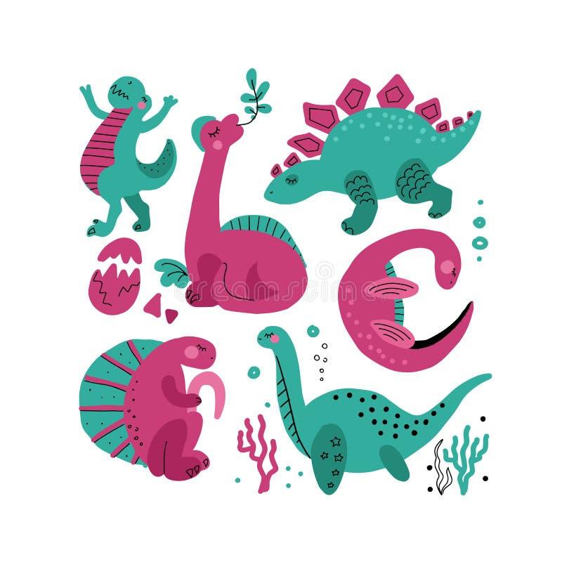 Metta di 5 caratteri disegnati a mano di vettore di colore sveglio del dinosauro Clipart disegnato a mano piano di Dino Rettile g illustrazione di stock