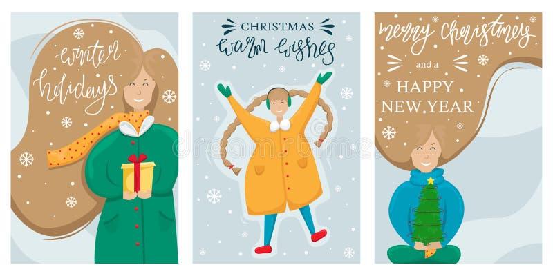 Metta di cartolina d'auguri di Buon Natale e del buon anno di vettore Ragazza con un piccolo albero di Natale in sue mani La raga royalty illustrazione gratis