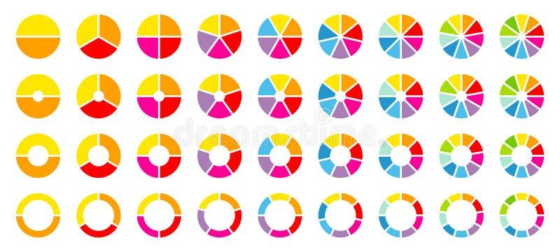 Metta di colore rotondo dei diagrammi a torta illustrazione vettoriale