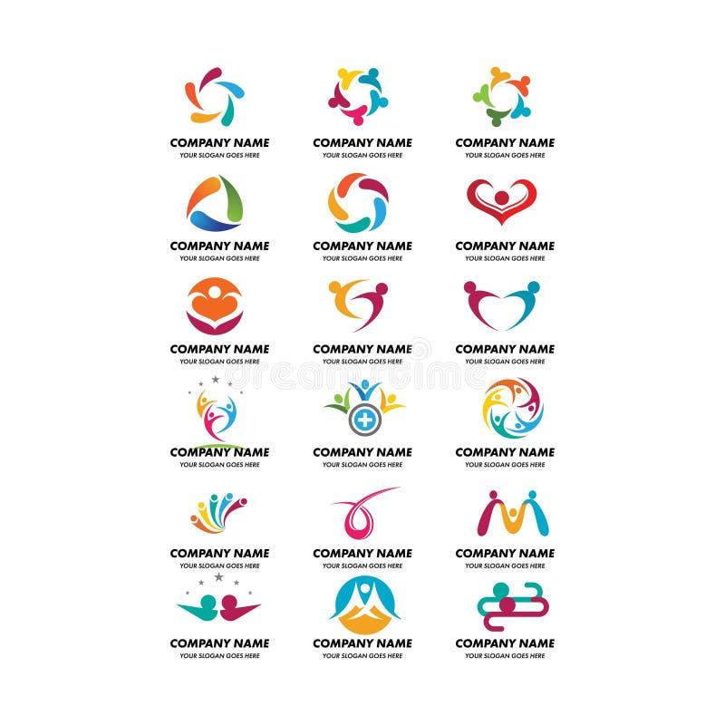 Metta di cura di comunità e del logo della società illustrazione di stock