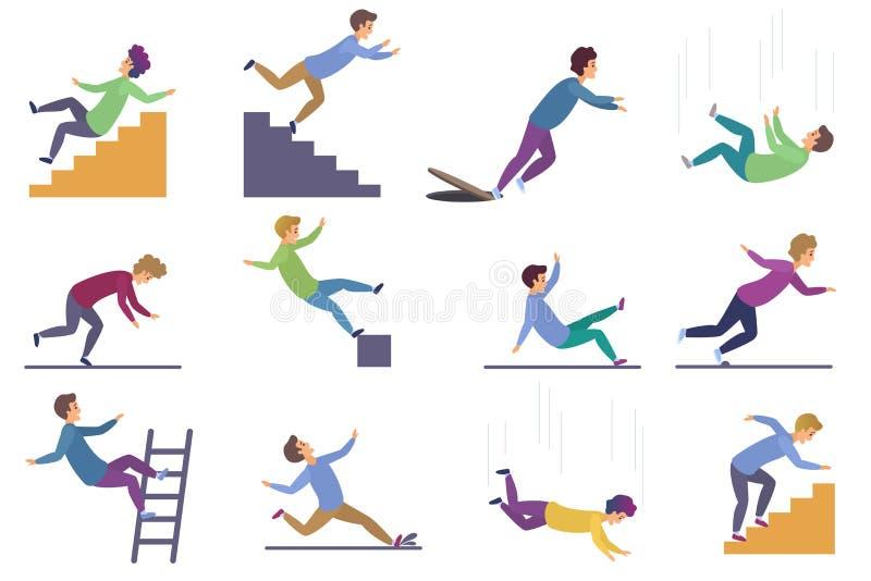 Metta di danneggiamento della gente che cade le scale e sopra il bordo, la scala, la goccia dall'altitudine, caduta bagnata del p illustrazione vettoriale