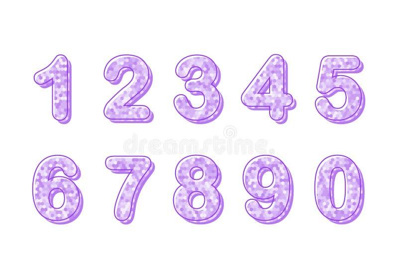 Metta di dieci numeri da zero a nove, elementi di progettazione di numero Numero moderno, grande progettazione per qualsiasi scop illustrazione di stock