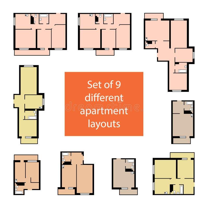 Metta di 9 disposizioni differenti dell'appartamento fotografia stock libera da diritti