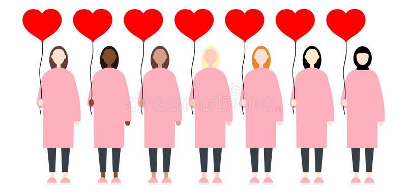 Metta di diverse donne di vettore della corsa in vestiti rosa che tengono i cuori rossi del pallone Piano moderno sveglio e sempl royalty illustrazione gratis