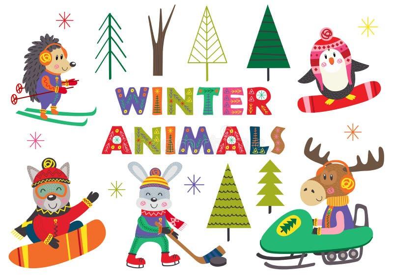 Metta di divertimento isolato dell'inverno con la parte 2 degli animali royalty illustrazione gratis