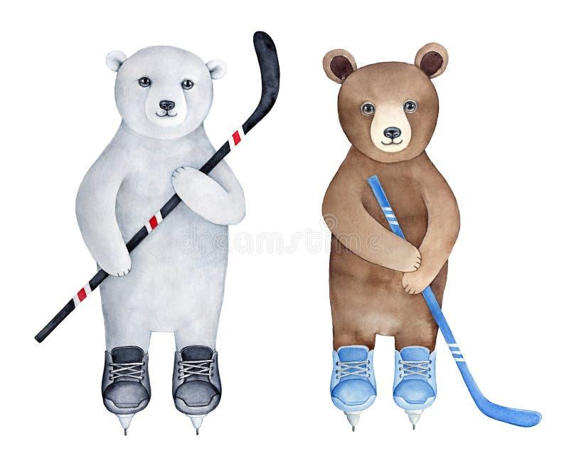 Metta di due cuccioli di orso differenti, marrone e polare, caratteri del giocatore di hockey su ghiaccio illustrazione vettoriale