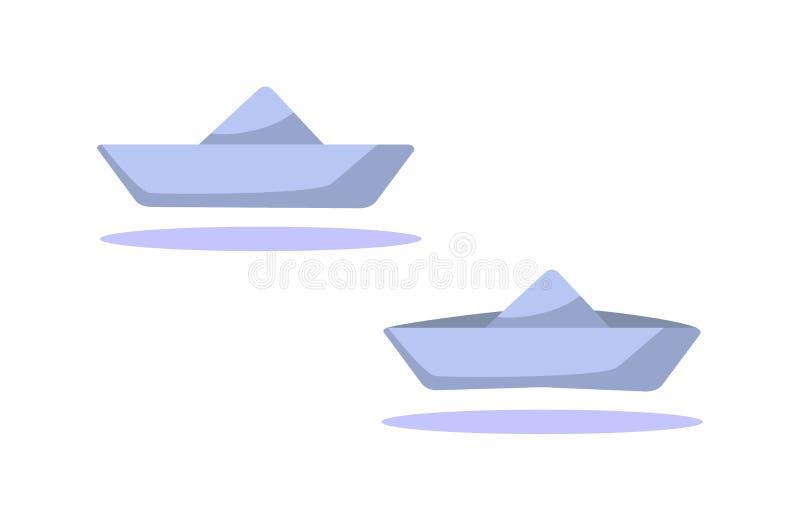 Metta di due icone di carta delle barche isolate su fondo bianco Navi del fumetto Illustrazione piana di vettore illustrazione vettoriale