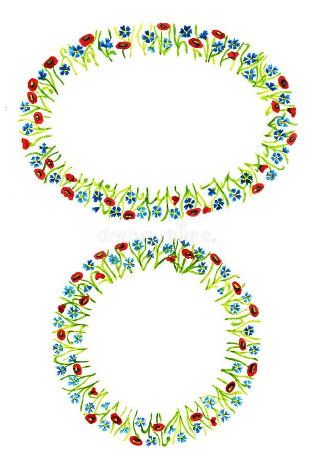 Metta di due telai floreali a forma di differenti isolati su fondo bianco illustrazione di stock