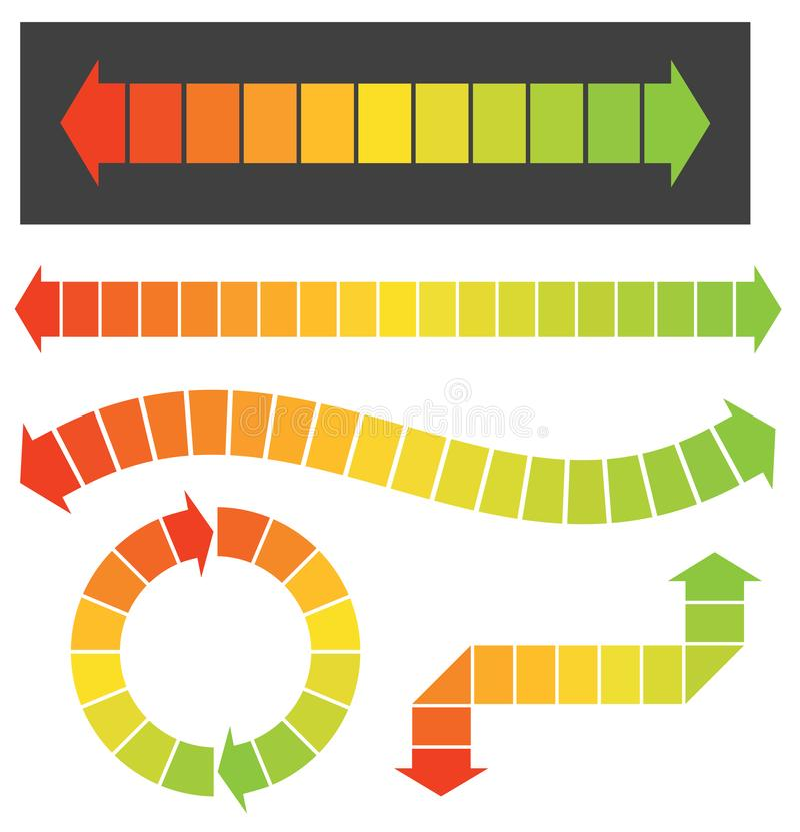 Metta di 5 elementi variopinti del grafico o della freccia immagine stock