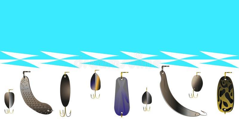 Metta di esca per la pesca sul fondo del mare e delle onde astratti Modello di vettore per le cartoline, manifesti, letteratura p illustrazione di stock